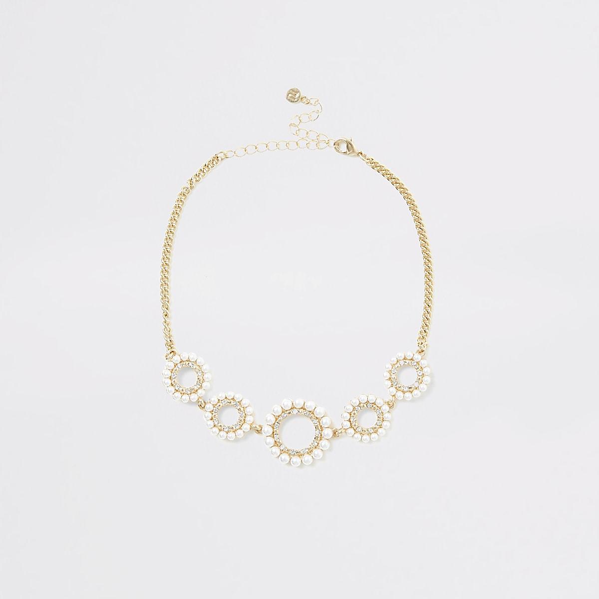 Gold colour diamante faux pearl choker