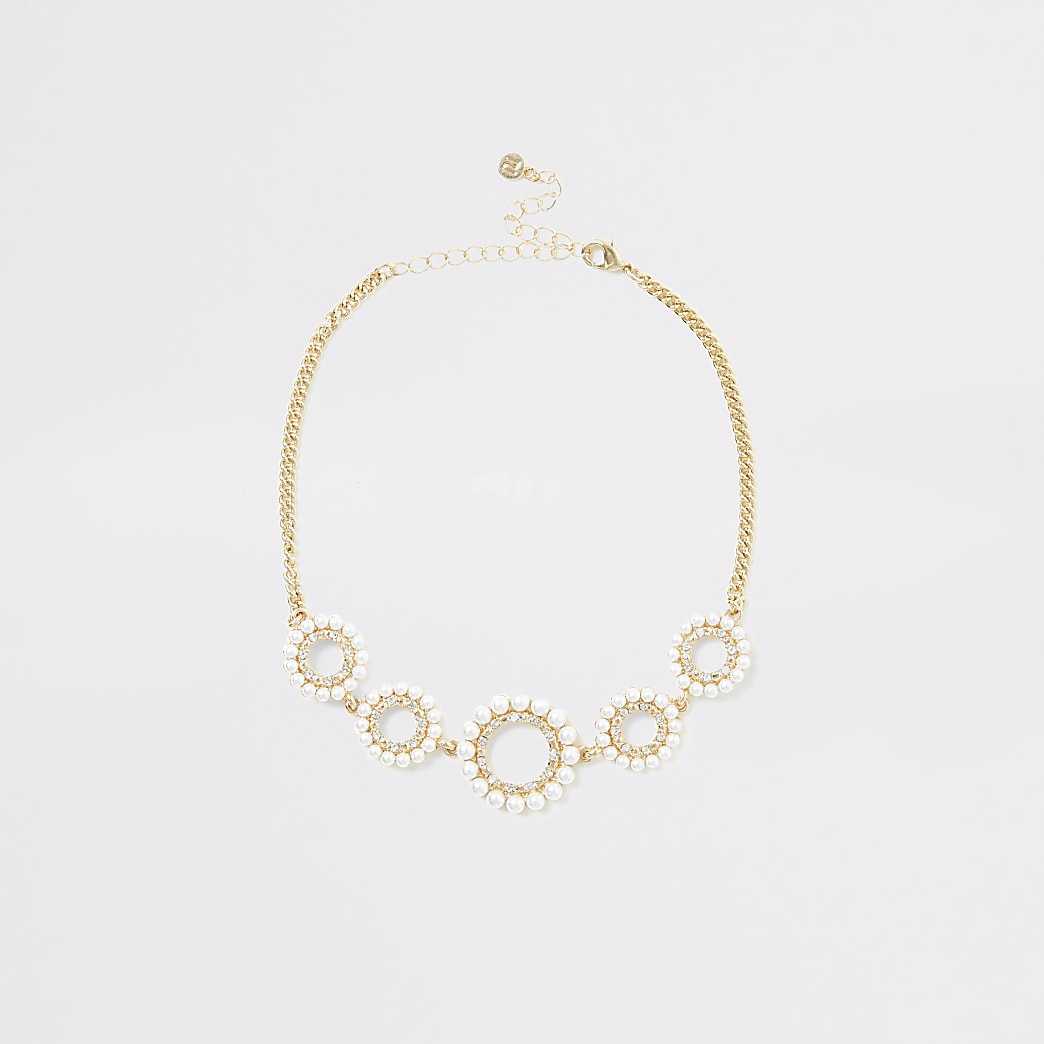 Gold colour diamante faux pearl choker