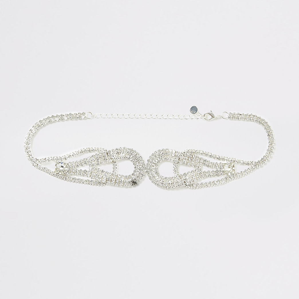 Silver colour diamante loop choker necklace
