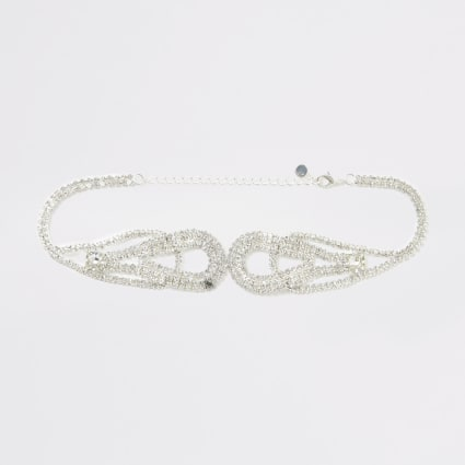 Silver colour diamante loop choker necklace