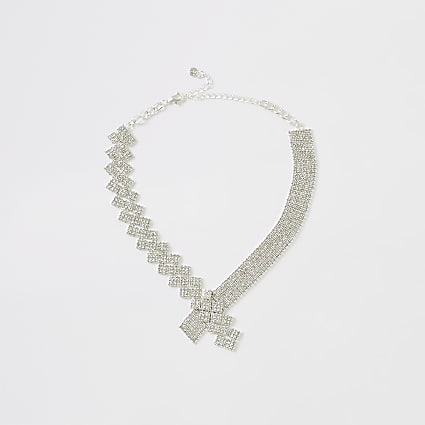 Silver colour cupchain asymmetric necklace