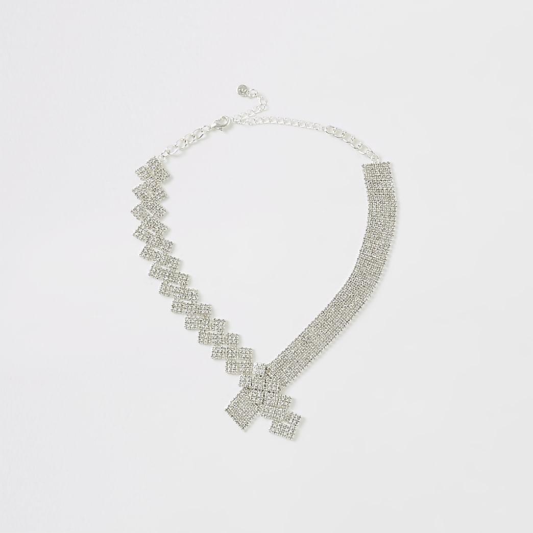 Silver colour cupchain asymmetric necklace
