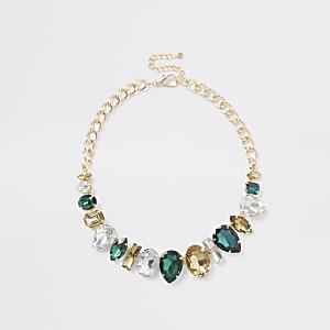 Statement-Halskette mit grünen Strass-Juwelen