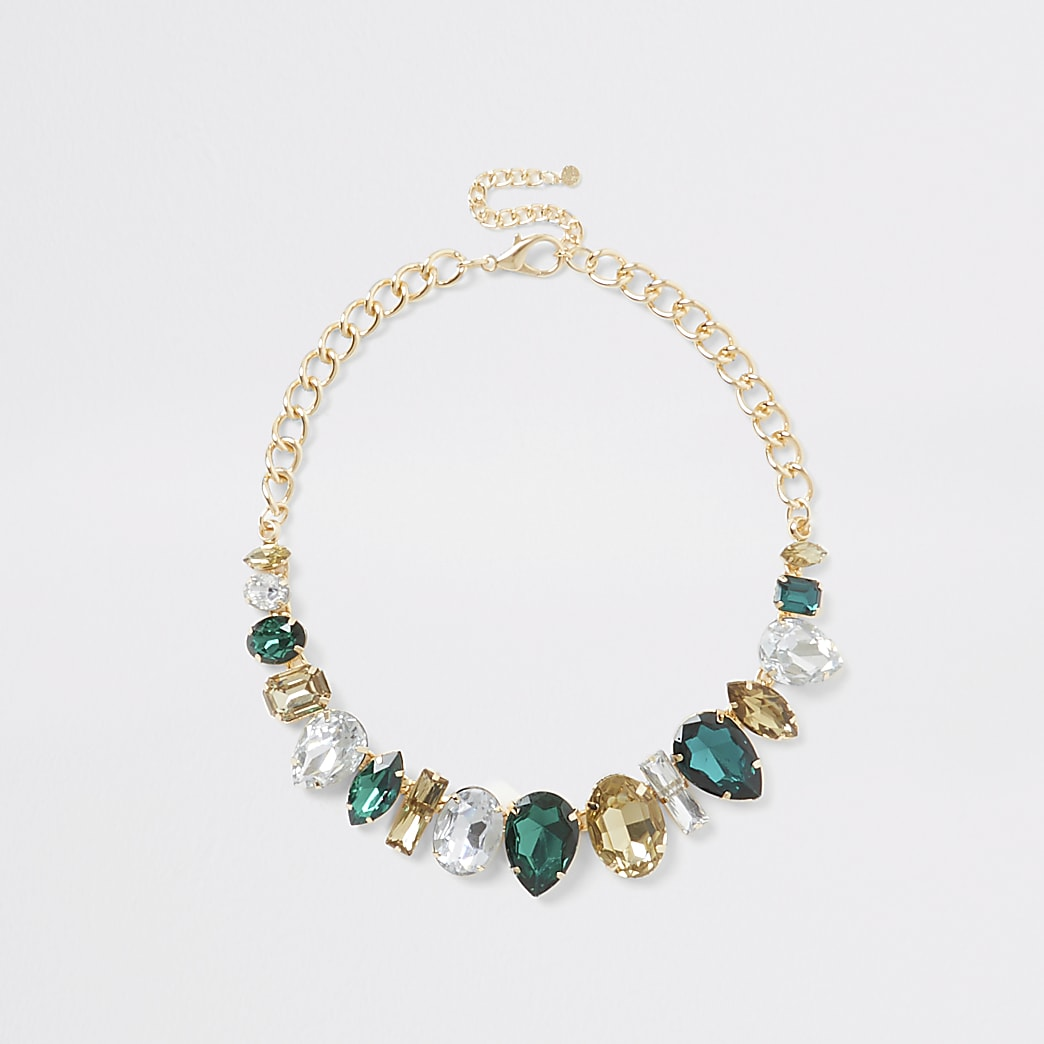 Green diamante jewelled statement necklace