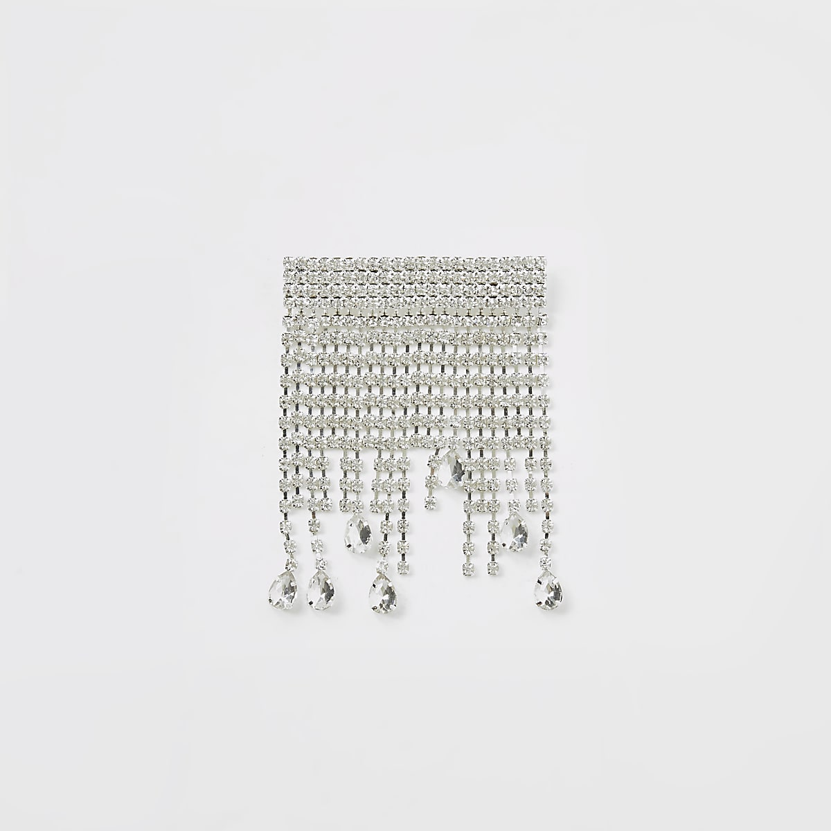 Silver colour diamante cascade brooch