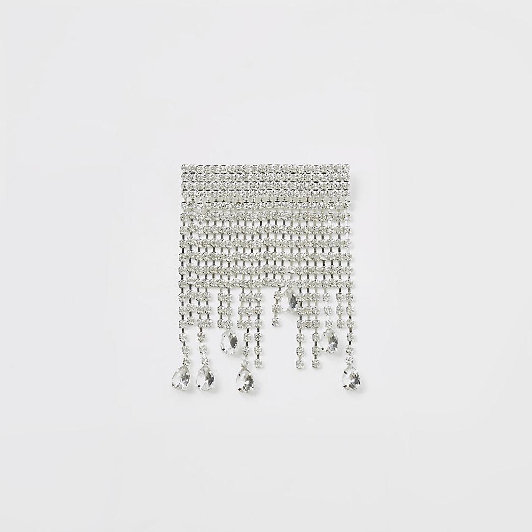 Silver colour diamante cascade brooch