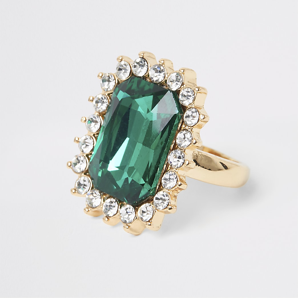 Gold colour green emerald stone ring