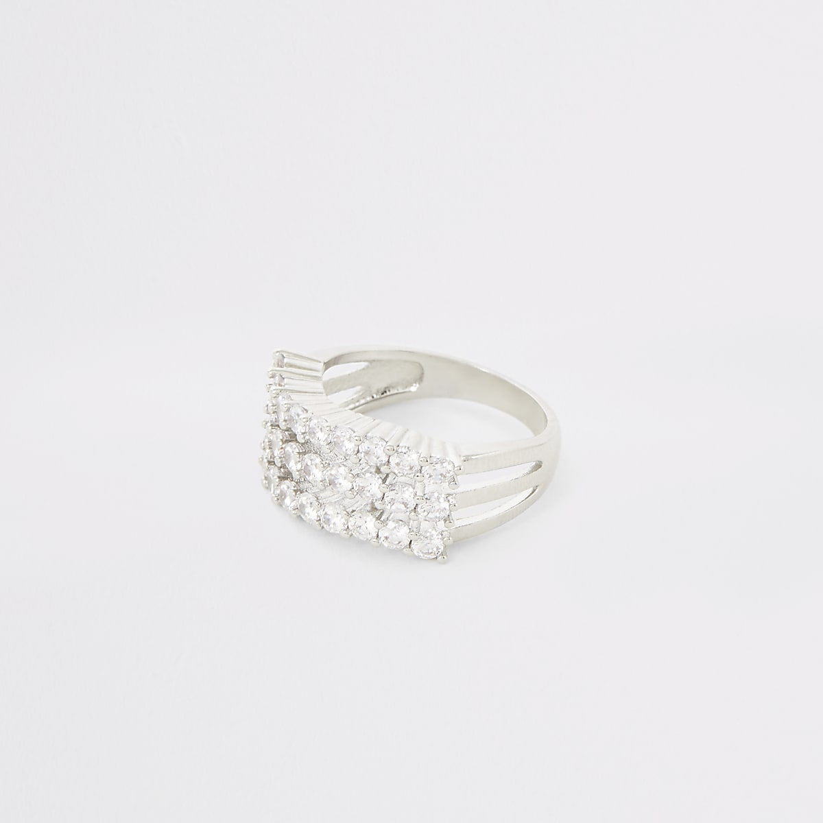 Silver colour diamante triple wave ring