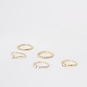 Set van 5 goudkleurige ringen verfraaid met parels en siersteentjes