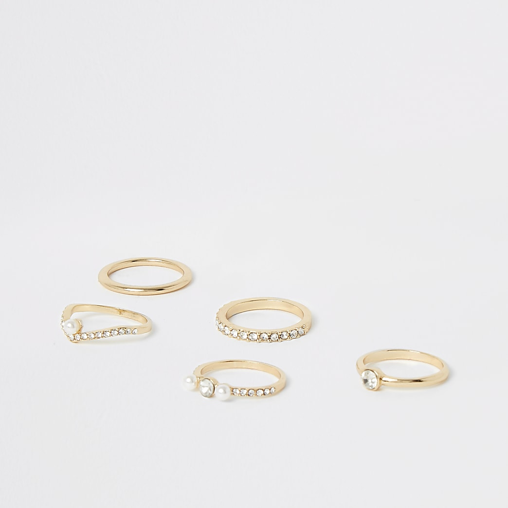 Gold pearl and diamante embellish ring 5 pack