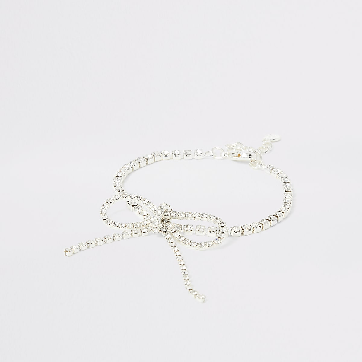 Silver bright diamante bow bracelet