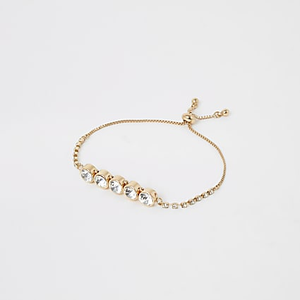 Gold colour diamante jewel bracelet