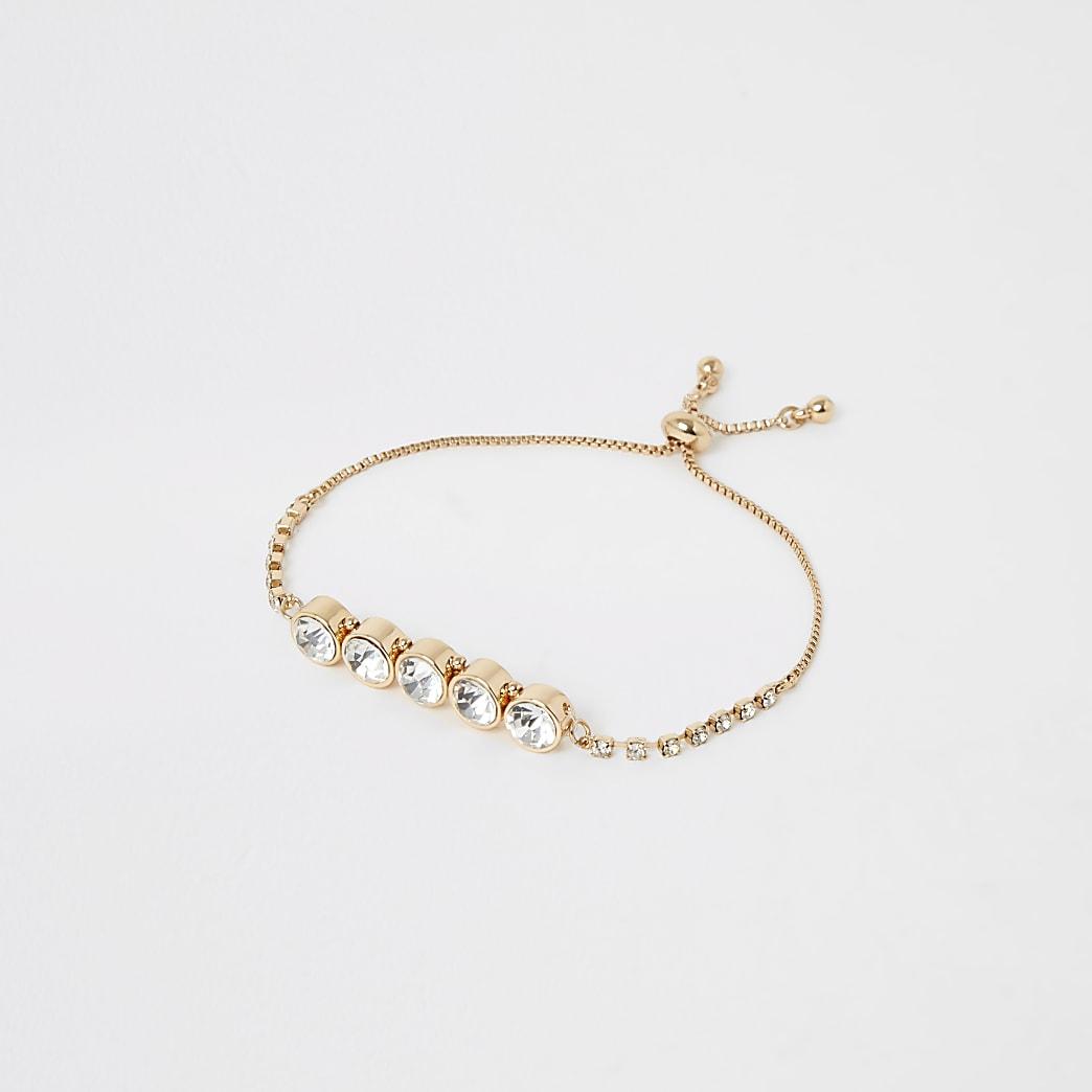 Gold colour diamante jewel bracelet