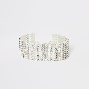 Strassbesetztes Armband in Silber