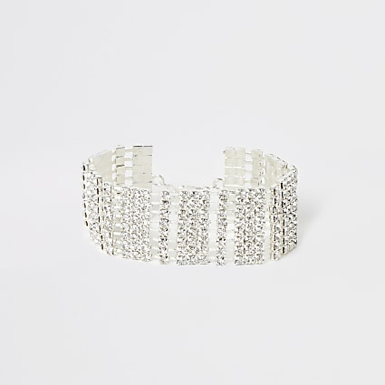 Silver colour diamante paved bracelet