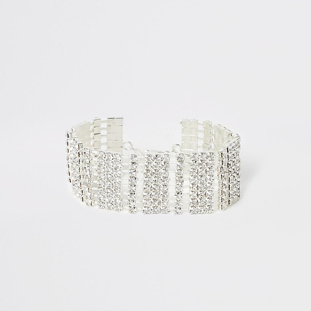 Silver colour diamante paved bracelet