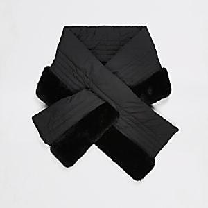 Écharpe matelassée noire avec fausse fourrure