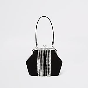 Strass-Tasche aus schwarzem Samt mit Quasten