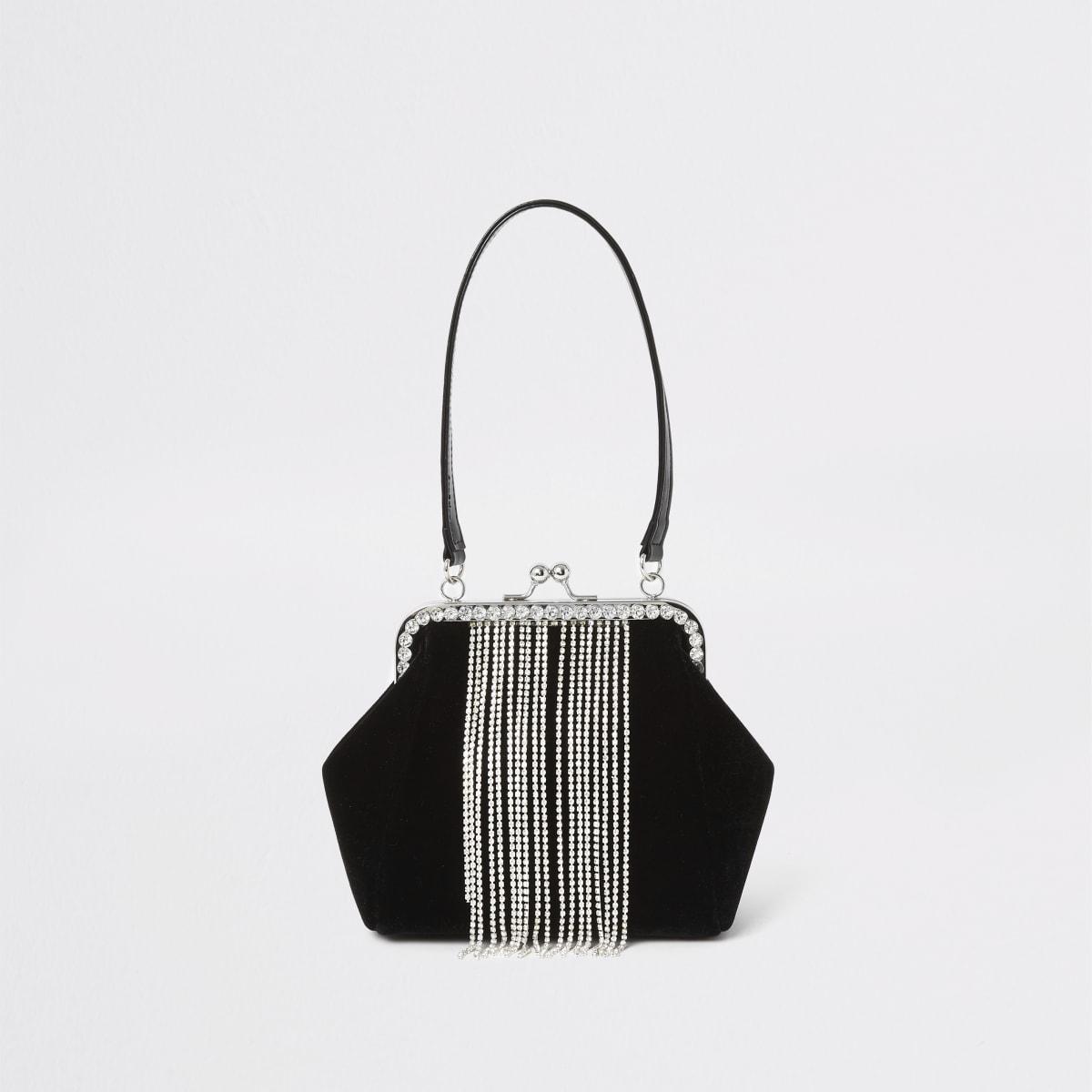 Zwarte fluwelen tas met clipsluiting, siersteentjes en kwastjes