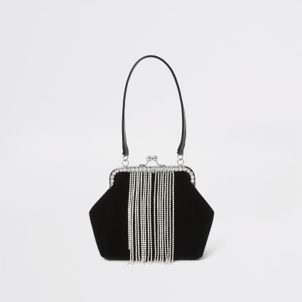 Black velvet diamante tassel cliptop bag
