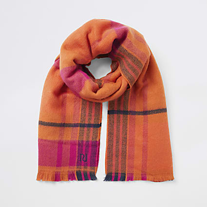 Orange check RI knitted scarf