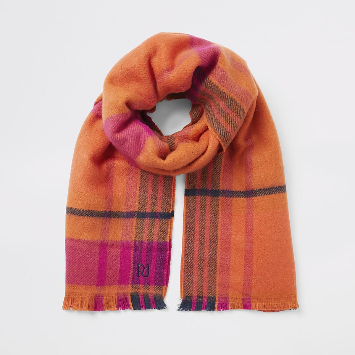 Oranje gebreide geruite RI sjaal