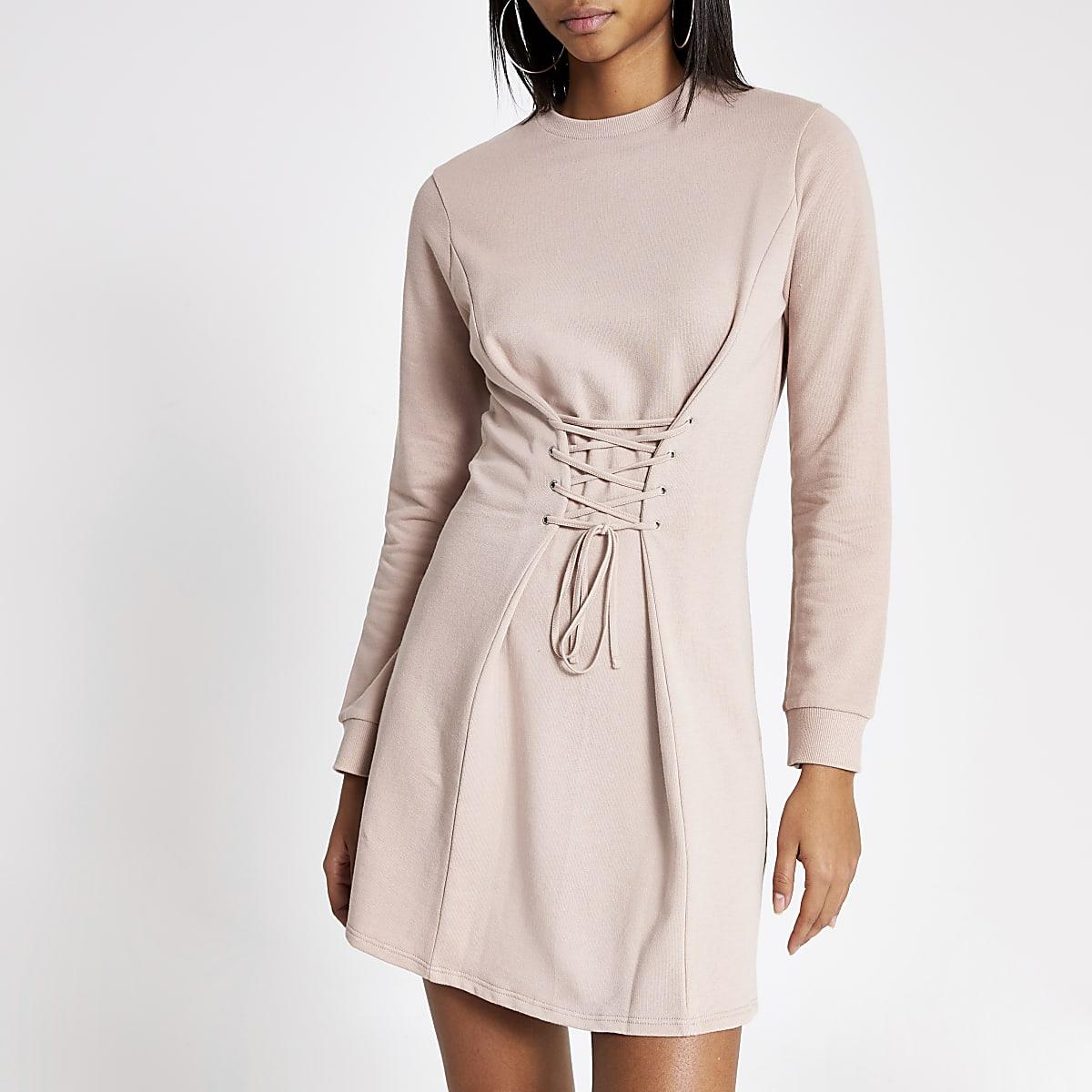 Pink corset sweater dress