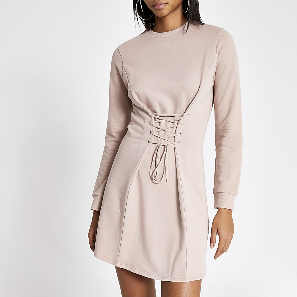 Pink corset sweater dress