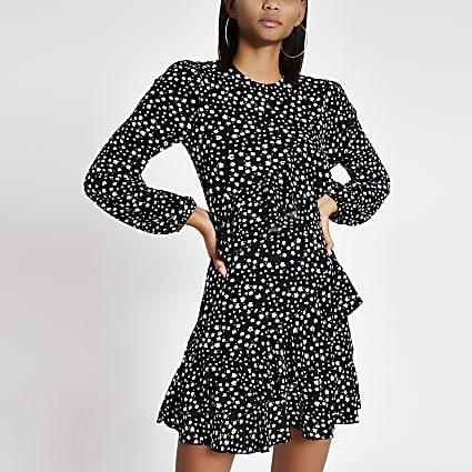 Black print ruffle swing dress