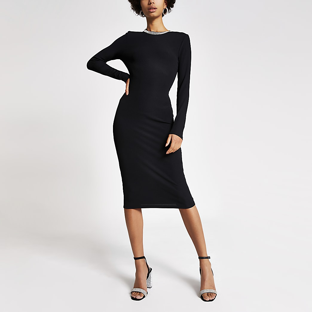 Black diamante neck ribbed bodycon dress