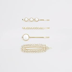Lot de barrettes dorées ornées de perles