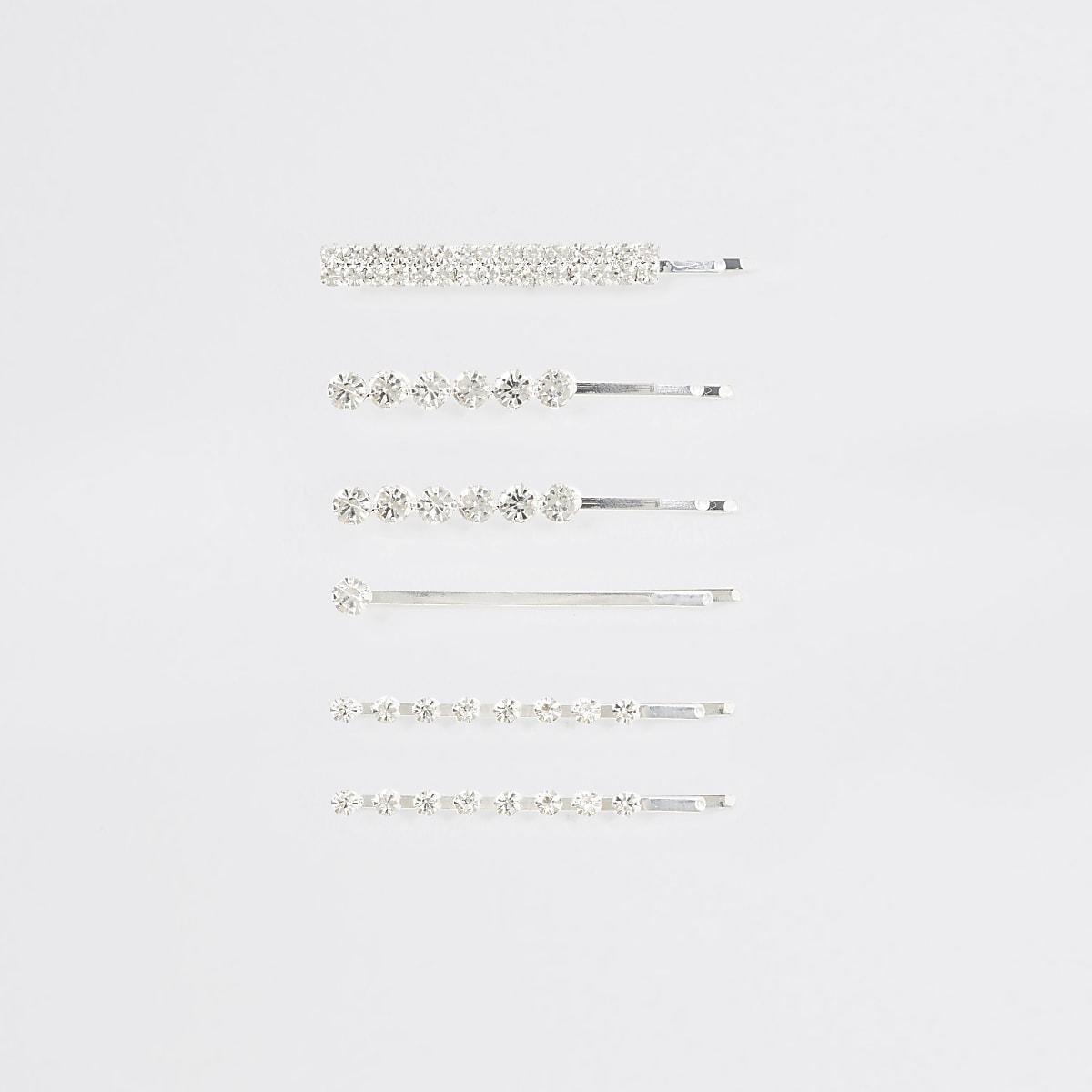 Silver colour diamante hair clip multipack