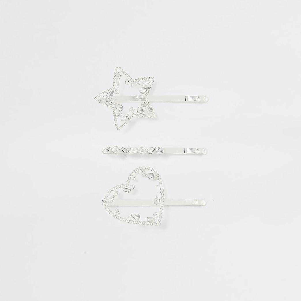 Silver colour heart star hair clip multipack
