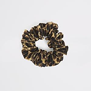 Chouchou plissé à imprimé léopard marron