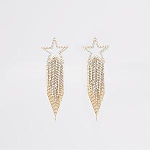 Boucles d'oreilles dorées étoile filante en strass
