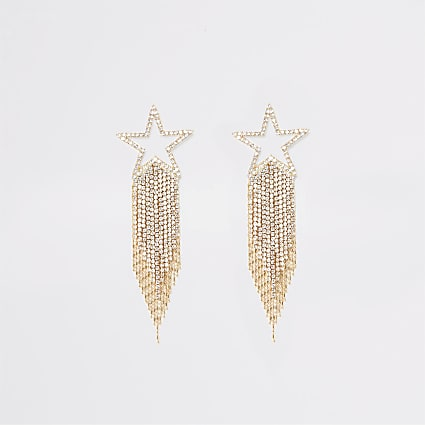 Gold shooting star diamante drop earrings