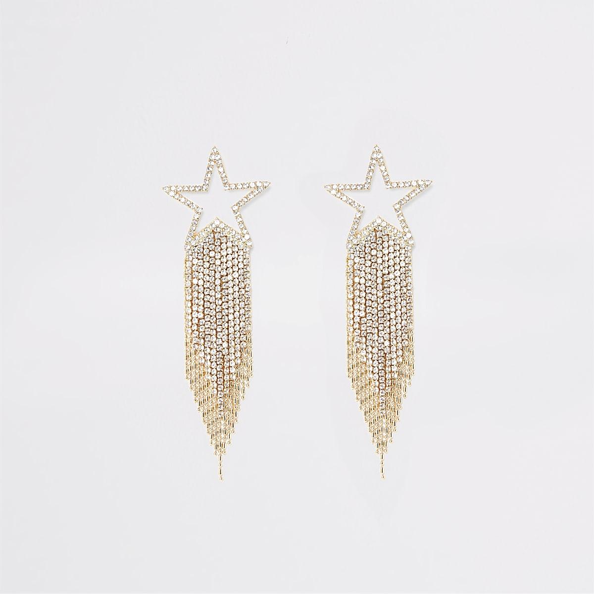 Gold colour shooting star diamante earrings