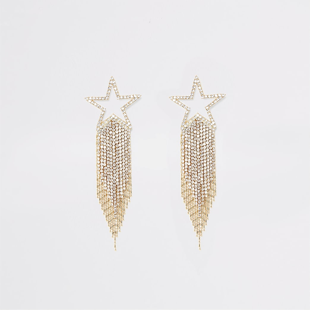 Gold colour shooting star diamante earrings