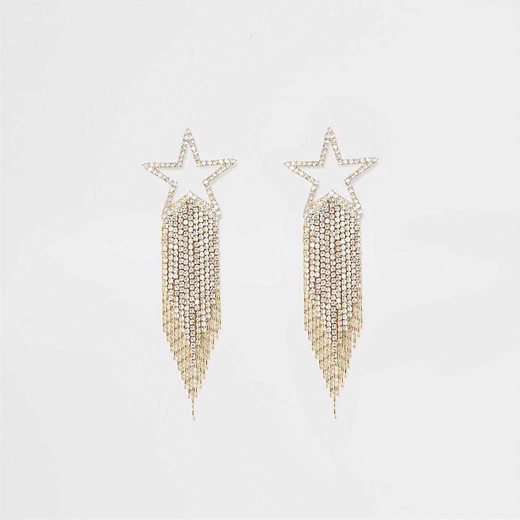Boucles d'oreillesétoile filante dorées à strass