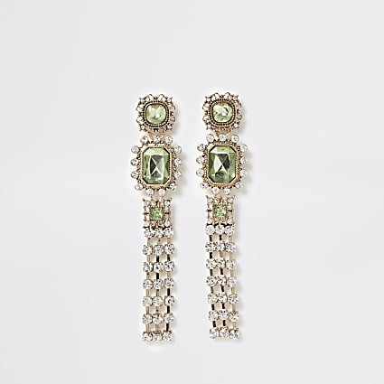 Green jewel ornate tassel drop earrings