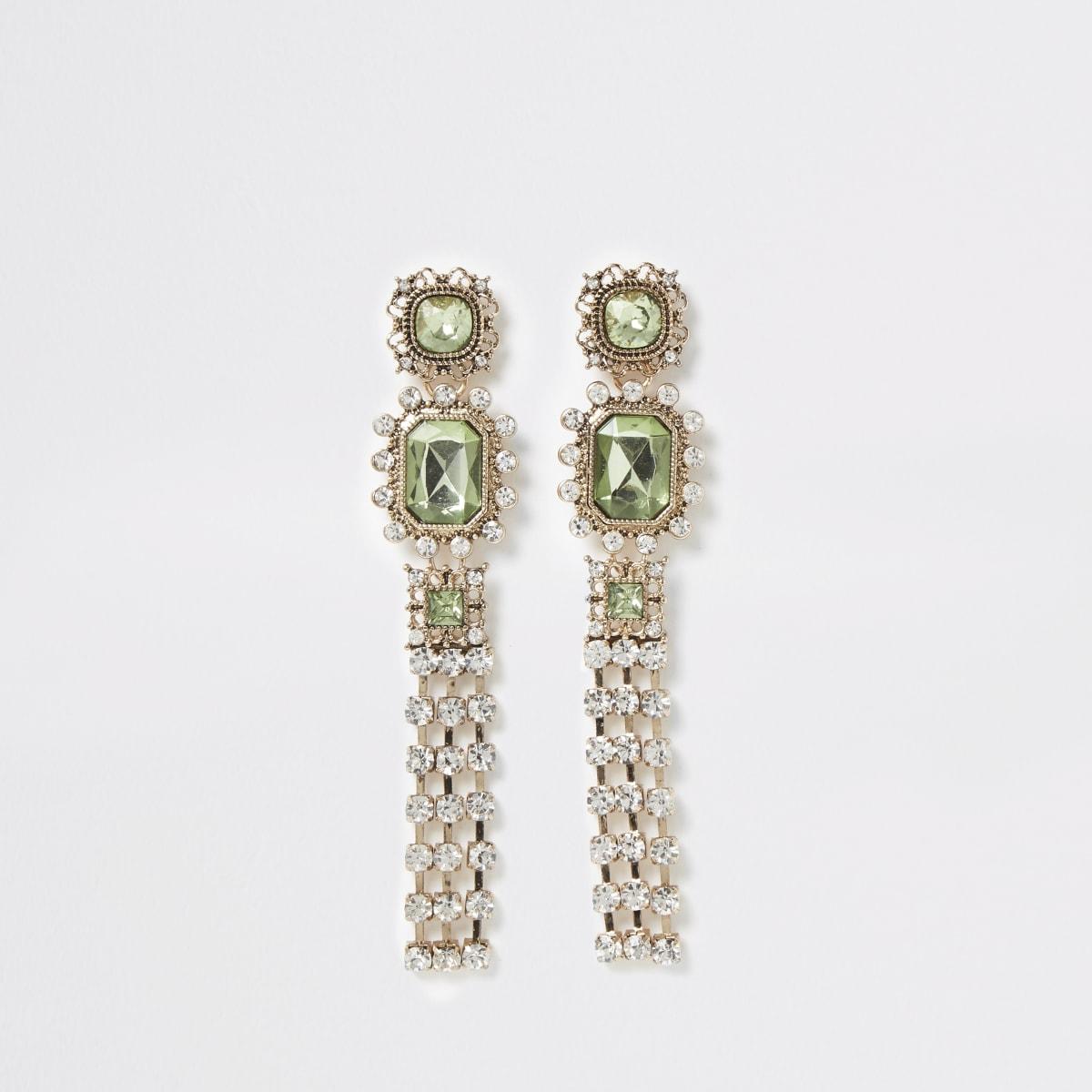 Green jewel ornate tassel drop earrings