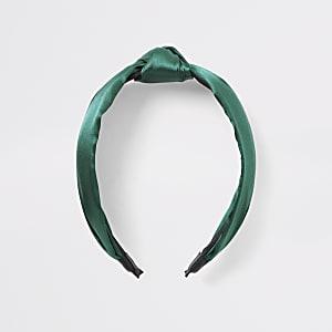 Grüner Haarreif aus Satin mit Knoten