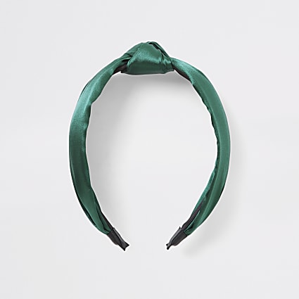 Green satin knot headband