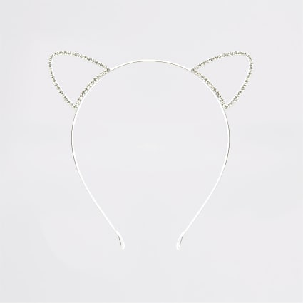 Silver colour diamante cat ears headband