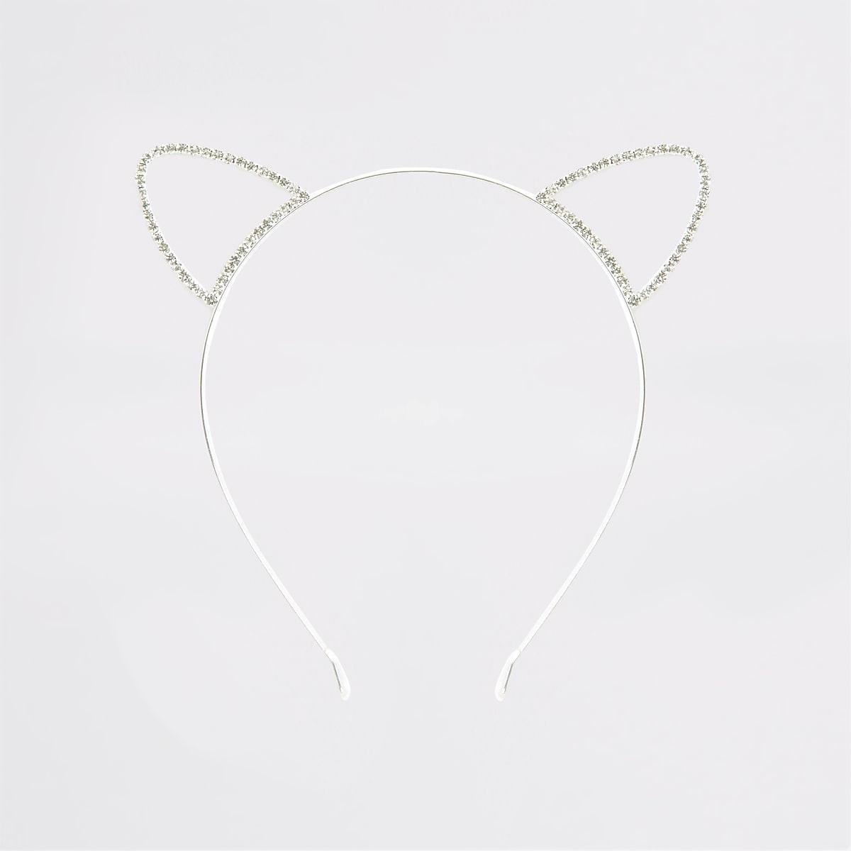 Zilverkleurige haarband met kattenoren en siersteentjes