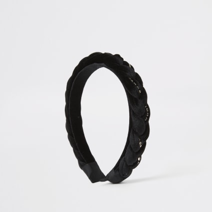 Black velvet diamante plait headband