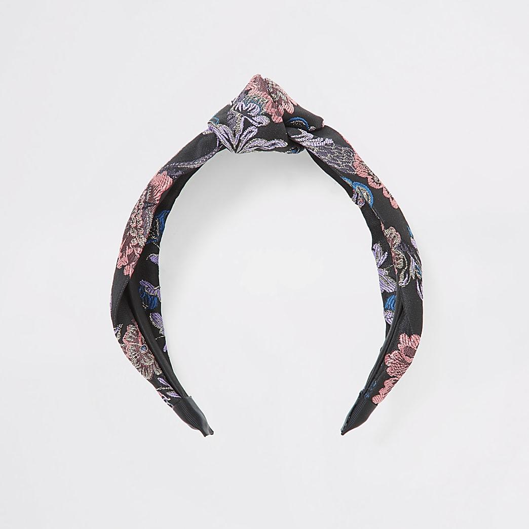 Geknotetes Jacquard-Stirnband in Schwarz mit Blumenmuster