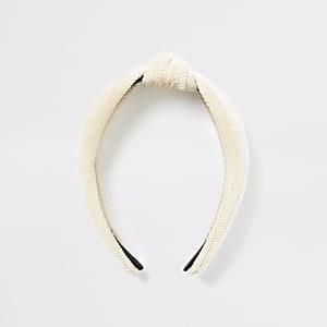 Crème corduroy hoofdband met knoop