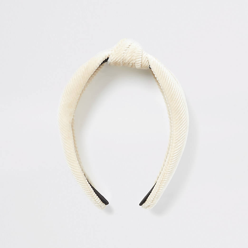Cream corduroy knot headband