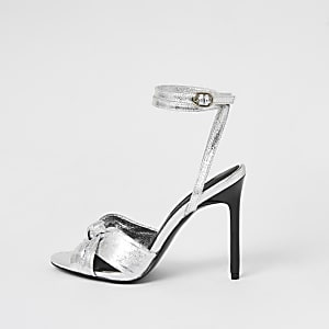Zilver metallic sandalen met hak en geknoopt bandje voor